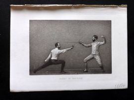 Badminton Library 1893 Antique Sword Fencing Print. Parry in Septime